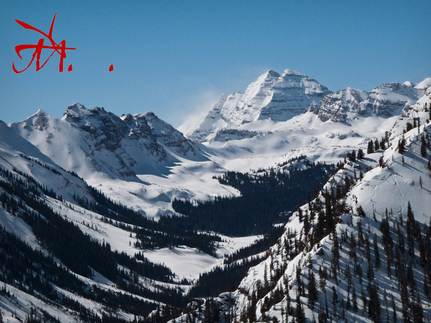 The Maroon Bells from the top of Snowmass ski area