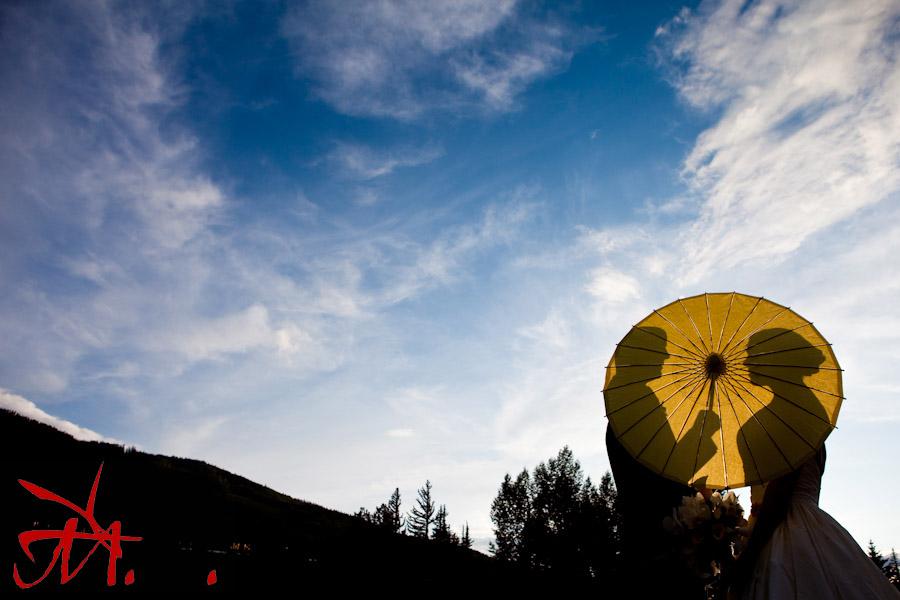 The parasols that were handed out for the ceremony made for a nice portrait at sunset.