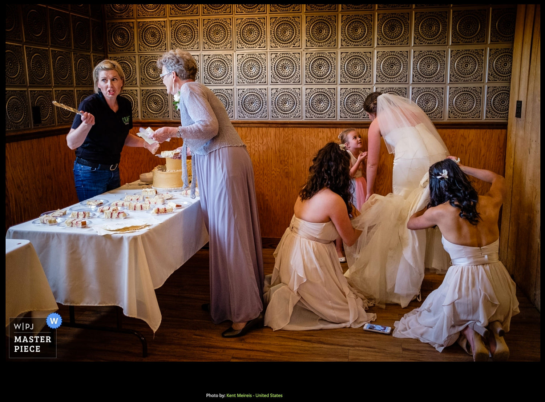 Award Winning Wedding Photojournalist Kalispell Montna Bride Bridesmaids Dress Cake