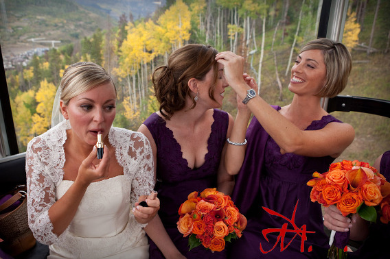 Jenna and her bridesmaids use the gondola ride to touch up their hair and makeup.
