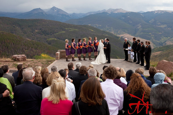 The Wedding Deck at the top of Vail Mountain has a majestic 360 degree views of the Vail Valley, the Mount of the Holy Cross and the Gore Mountain Range.
