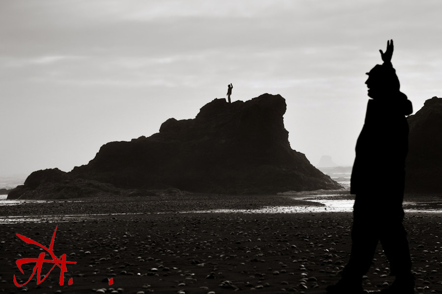 Kent and Geri at Ruby Beach on the Olympic Peninsula in Washington. Photo taken by our new Candian Friend Huff Taylor of Vancour.