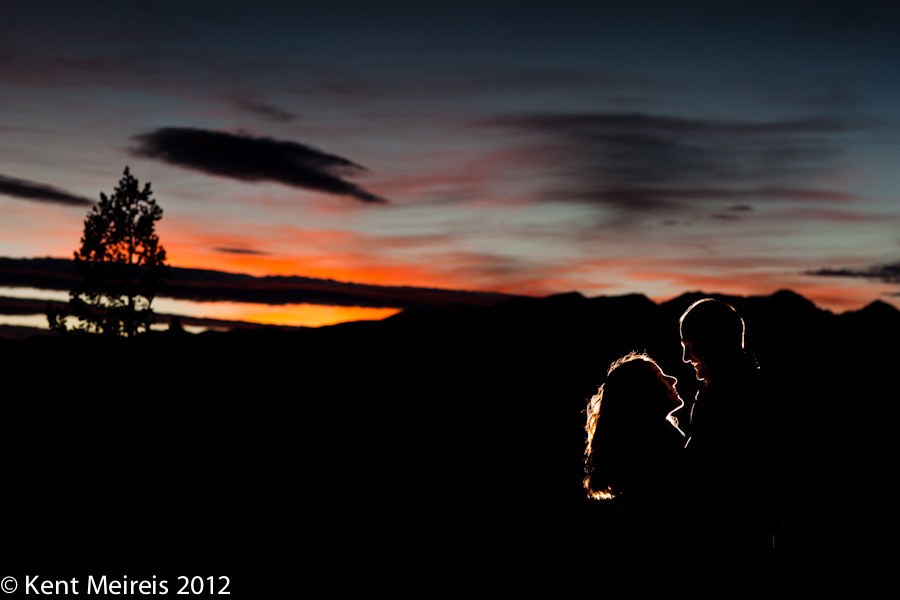 A beautiful enagagement picture at Gold Hill with Colorado mountain sunset.