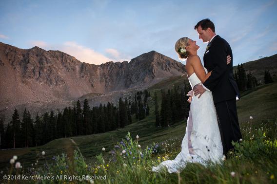 Bride-Groom-Wedding-Portrait-Arapahoe-Basin-Sunset-Picture
