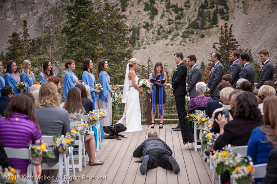 Photographer-Ceremony-Aisle-Laying-Down-Arapahoe-Basin-Wedding-PIcture