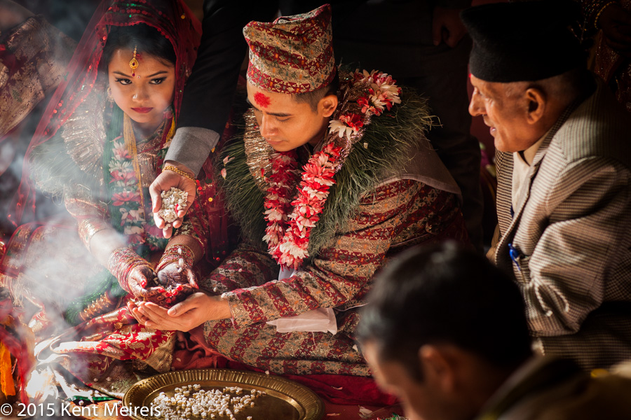 Nepali-Hindu-Indian-Wedding-Ceremony-Denver-Picture-Bride-Groom-Smoke-Hands