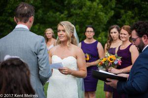 Old Thompson Barn Wedding Ceremony Bride