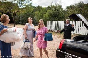 Manitou Springs Colorado Wedding Bride Arriving Towncar Driver Mom Sister Dress
