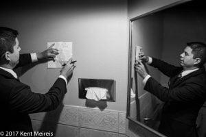 Manitou Springs Colorado Wedding Groom Writting Bride Note Card in Bathroon Reflected