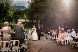 Manitou Springs Colorado Wedding Ceremony Recessional Sunset Bride Groom Waking