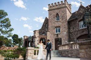 Highlands Ranch Mansion Wedding Bride Groom Walking Portrait