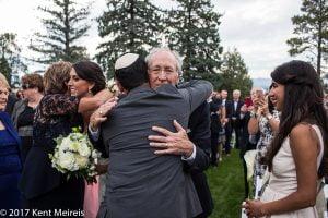 Highlands Ranch Mansion Wedding Ceremony Bride Groom Parents Hug