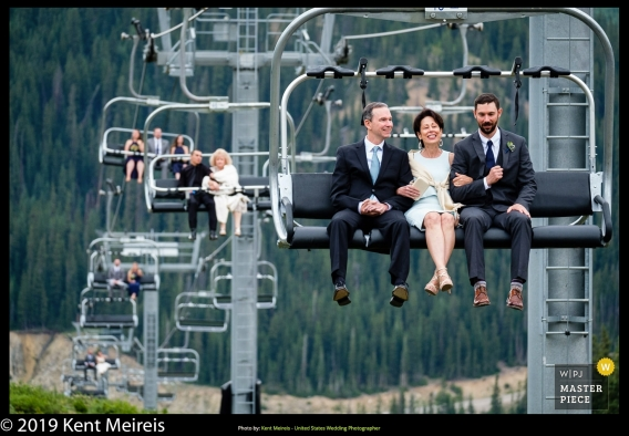 Award Winning Wedding Photojournalist Kalispell Montna Wedding Party Ski Lift Mother Groom