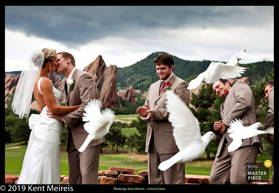 Award Winning Wedding Photojournalist Kalispell Montna Bride Groom Doves Ceremony