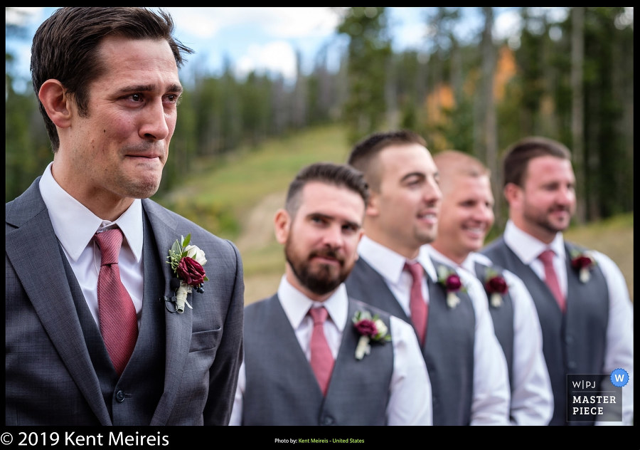 Award Winning Wedding Photojournalist Kalispell Montna Emotional Groom Ceremony