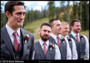 Award Winning Wedding Photojournalist Kalispell Montna Emotional Groom Ceremony
